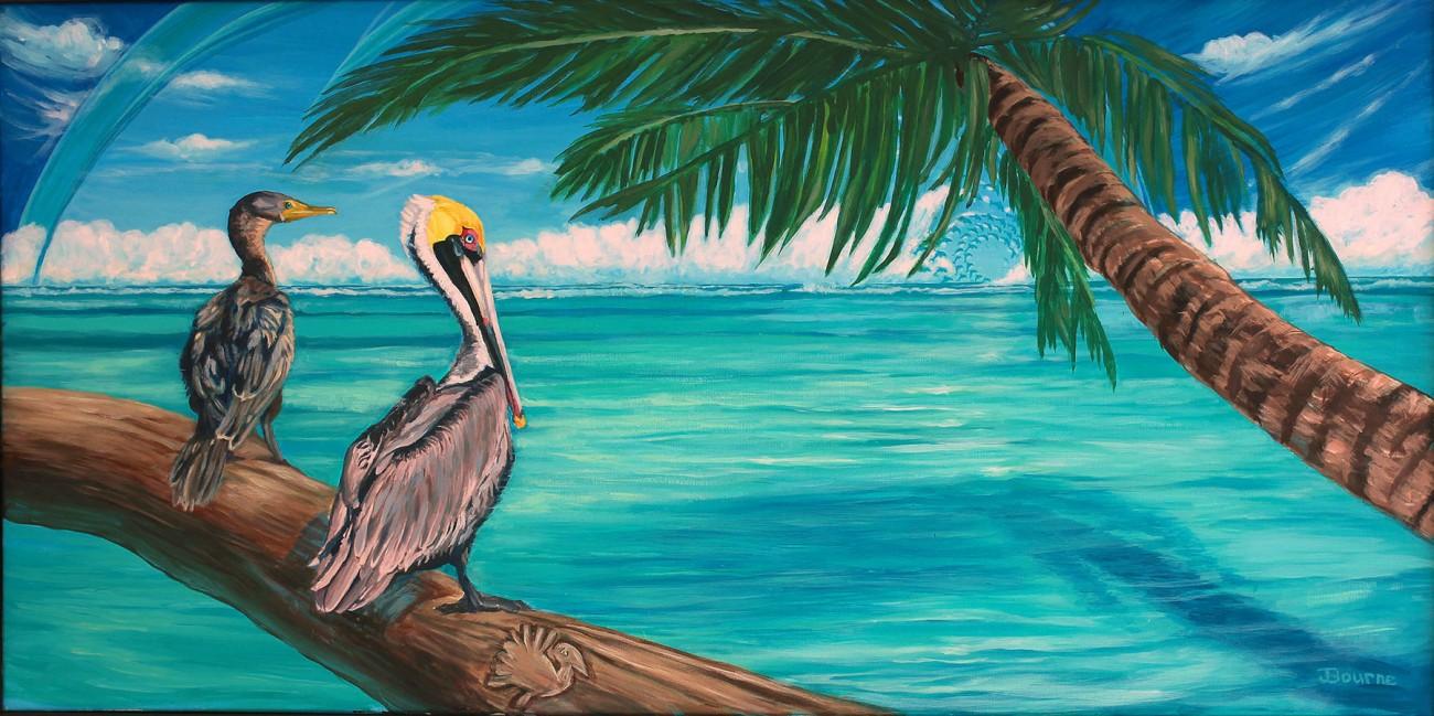 tropical-ocean_pelican_cormerant_log_ocean_palm_tree