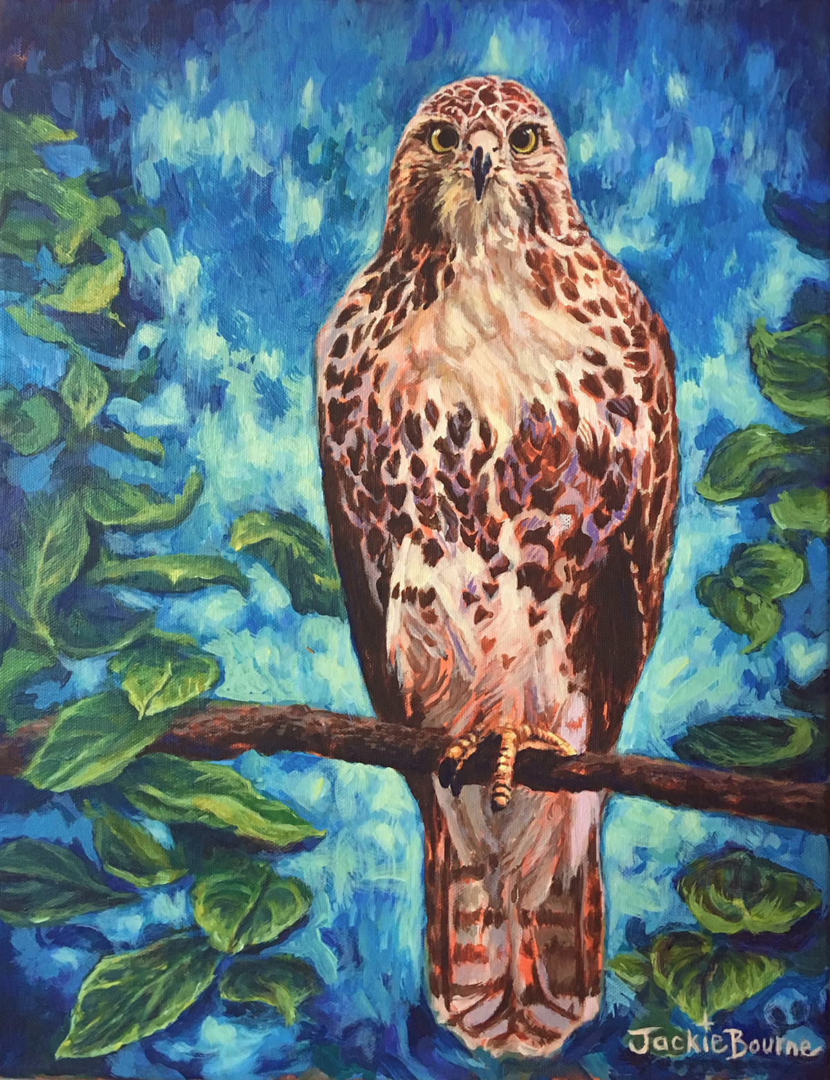 red-tailed-hawk-on-branch-painting